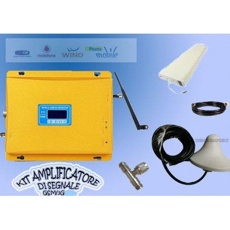 KIT AMPLIFICATORE RIPETITORE SEGNALE GSM UMTS 3G ANTENNA TIM WIND ORO