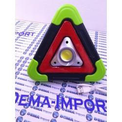 Triangolo stradale Luminoso Led Lampeggiante Ricaricabile pannello solare utile