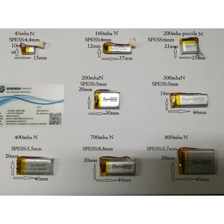 BATTERIE al polimeri di litio a celle 3,7 volt 60 mAh droni modellismo arduino