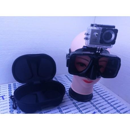 Maschera subacque Nero silicone liquido con custiodia Box Per Go pro XIAO MI YI