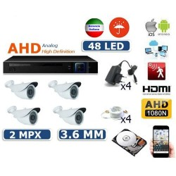 KIT VIDEOSORVEGLIANZA AHD IP CLOUD DVR 4 CANALI 4 TELECAMERE HD IR 2 MPX COLORI