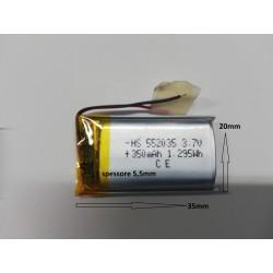 batteria a litio di polimeri 3.7 v 350mha gps auricolari rc arduino bluetooth M